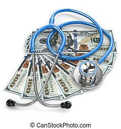 Health insurance. Stethoscope on dollar banknotes.