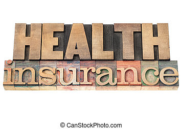health insurance - healthcare concept - isolated text in...