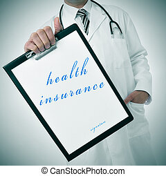 health insurance - a doctor showing a clipboard with the...