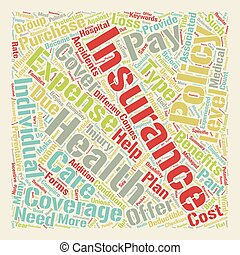 Health Insurance text background wordcloud concept