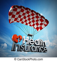 Health insurance text landing with a parachute. 3D illustration