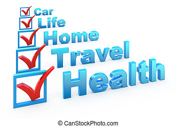 Health Insurance, Travel Insurance, Home Insurance, Life Insurance, Car Insurance checklist