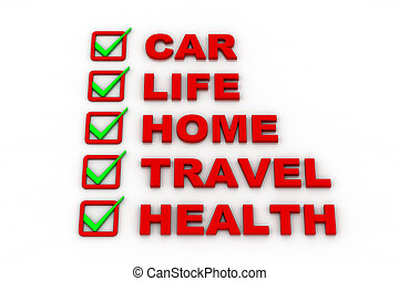 Health Insurance, Travel Insurance, Home Insurance, Life Insurance