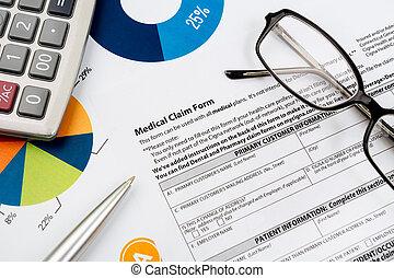 health-insurance, vorm, opeisen