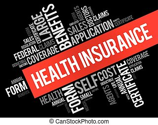 Health Insurance word cloud collage, healthcare concept...