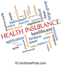 Health Insurance Word Cloud Concept Angled with great terms...