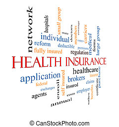 Health Insurance Word Cloud Concept Fading - Health...