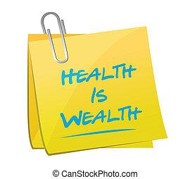 health is wealth memo illustration design