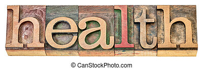 health - isolated word in wood type
