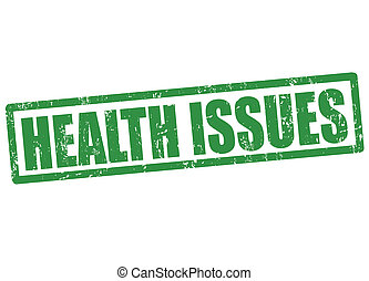 Health issues grunge rubber stamp on white, vector illustration