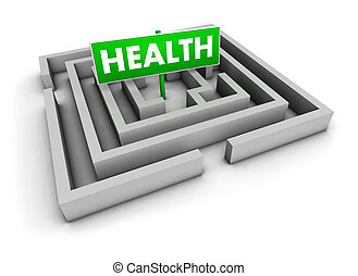 Health concept with labyrinth and green sign on white background.