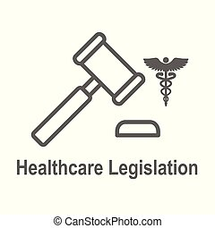 Health Laws and Legal icon set depicting various aspects of...