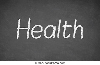Health lesson on blackboard or chalkboard.