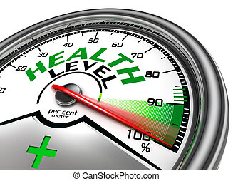 health level conceptual meter indicate hundred per cent,...