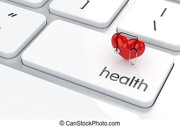 Health life concept - 3d render of heart shape with...