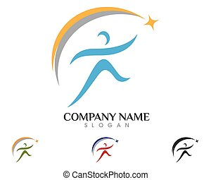 Health Logo Template - Fun people Healthy Life Logo template...