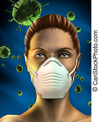 Health mask - Young woman wearing an health mask to protect...