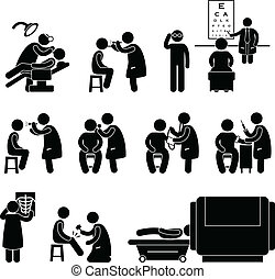 A set of pictogram representing medical checkup and body examination.