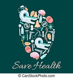 Health medical poster of vector heart symbol - Heart symbol...