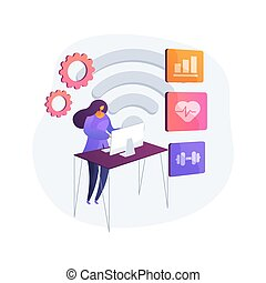 Health monitoring system. Medical stats tracking software, online doctor consultation, telemedicine service. Distance examination and consulting. Vector isolated concept metaphor illustration