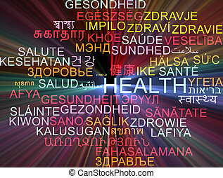 Health multilanguage wordcloud background concept glowing