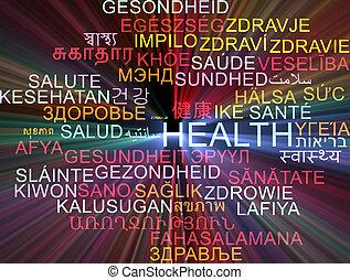 Health multilanguage wordcloud background concept glowing