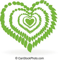 Health nature heart logo