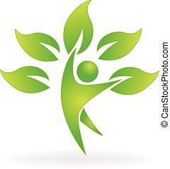 Health nature people tree logo