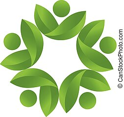 Health nature teamwork logo vector