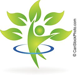 Health nature tree figure logo