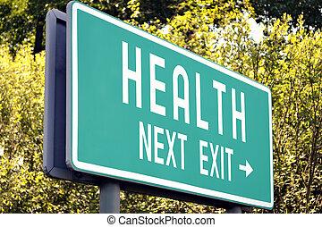 Health - next exit sign