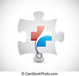 health piece. puzzle concept illustration design