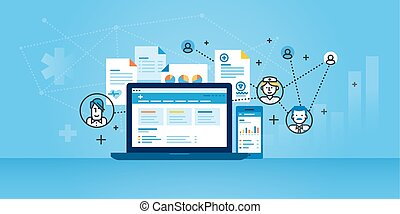 Flat line design website banner of health plan management solutions. Modern vector illustration for web design, marketing and print material.