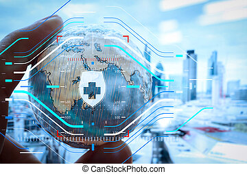 close up of businessman hand showing texture the world with digital social media network diagram concept