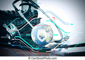 Studio macro of a stethoscope and texture globe with digital tablet with shallow DOF evenly matched abstract as medical network concept
