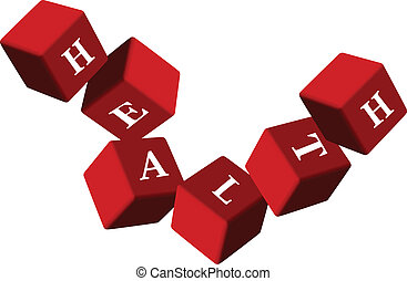 Health. Red cube on isolated background. Illustration