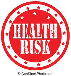 Red rubber stamp with text Health Risk, vector illustration