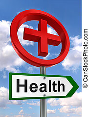 health road sign with red cross