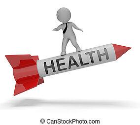 Health Rocket Shows Healthcare Wellbeing 3d Rendering