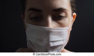 sick young woman wearing protective medical mask - health, ...