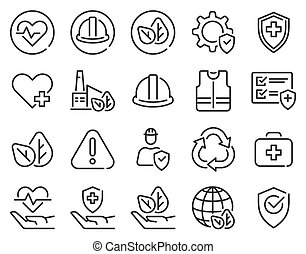 Health safety environment icons. Occupational security ...