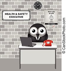 Health & Safety Executive - Comical bird Health and Safety...