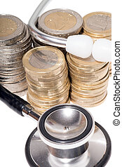 health service - Stethoscope with Euro coins over a white ...