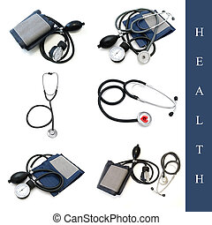 set of different medical tools images over white background