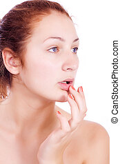 Health & skin care. Lovely woman touching her lips - ...