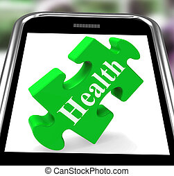 Health Smartphone Shows Wellness And Fitness On Web