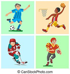 Health sport and wellness flat people characters sporting man activity woman athletic vector Illustration.