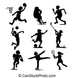 Health sport black silhouette wellness flat people characters sporting man activity woman athletic vector Illustration.