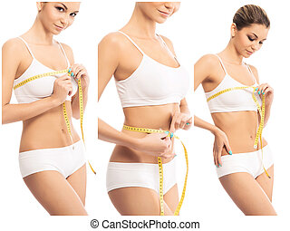 Health, sport, fitness, nutrition, weight loss, diet, healthy lifestyle collage concept. Beautiful female body shape.