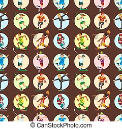 Health sport seamless pattern background wellness flat people characters sporting man activity woman athletic vector Illustration.